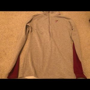 Gymshark grey and pink half zip